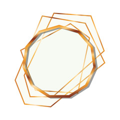 golden frame decagon isolated icon