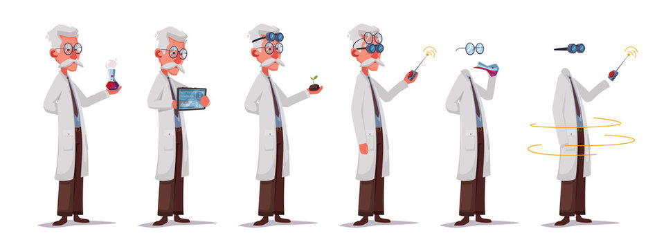 Set of scientist character. Mad professor