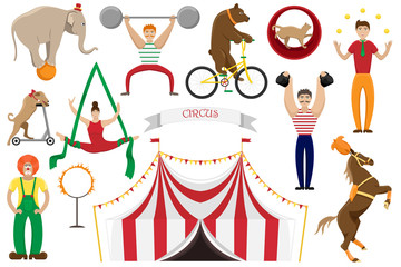 A set of flat vector illustrations of circus artists. Clowns, acrobats and trained animals.
