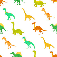 Seamless pattern with flat vector cartoon dinosaurs.