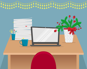 Christmas office workplace with fir-tree branches. Table with laptop, stack of papers, Desk lamp. Flat vector illustration.