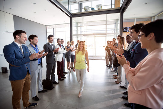 applauding to smile confident leader employer .