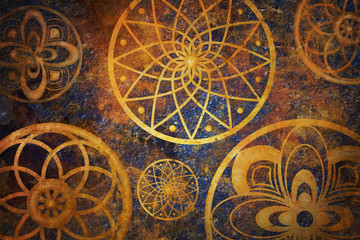 Abstract fantasy space with golden circle pattern. Art wallpaper with dark gold and blue color.