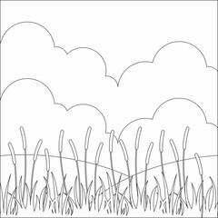 Landscape bush bulrush with green grass vector illustration design coloring for kids