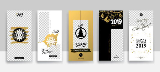 Set of 2019 Merry Christmas and Happy New Year Sale Stories template
