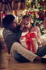 romantic surprise for Christmas holiday –male and female with present.