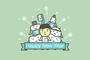 happy tooth and friends with male dentist with text for Happy New Year - teeth cartoon vector