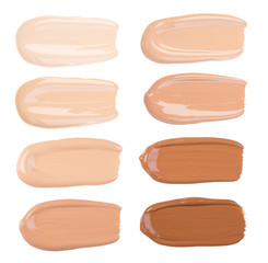 Makeup foundation smears isolated on white background