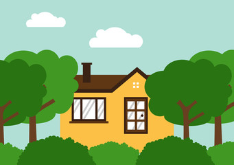 Home sweet home Green Park Environmental Landscape vector illustration design