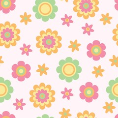 Seamless flower texture for babies, vector. Ideal for fabric, wallpaper in the nursery, the coating surface, decoration of children's products, greeting cards and more