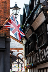 Union Jack, old black and white building, Nantwich Cheshire UK