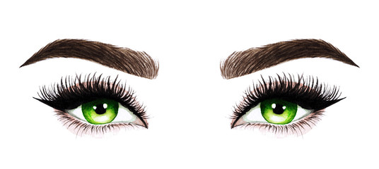 Woman eyes with long eyelashes. Hand drawn watercolor illustration. Eyelashes and eyebrows. Design for eyelash extensions, microblading, mascara, beauty salon, cosmetics, makeup artist. Green eyes. Wall mural