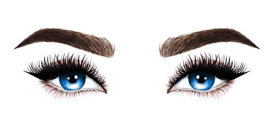 Woman eyes with long eyelashes. Hand drawn watercolor illustration. Eyelashes and eyebrows. Design for eyelash extensions, microblading, mascara, beauty salon, cosmetics, makeup artist. Blue eyes.