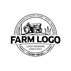 Farm tractor and field illustration logo template