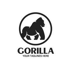 creative and strong Gorilla logo vector isolated on white background