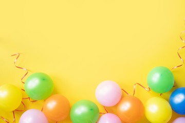 Holiday background with colorful balloon. Copy space.