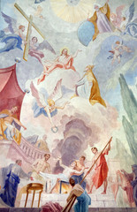Martyrdom of the Saint Lawrence, ceiling fresco in the Saint Lawrence church in Denkendorf, Germany