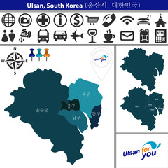 Map of Ulsan with Districts, South Korea