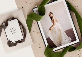 Card Box with Ribbon Mockup