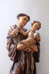 Saint Anthony of Padua, statue in the Saint Martin church in Unteressendorf, Germany