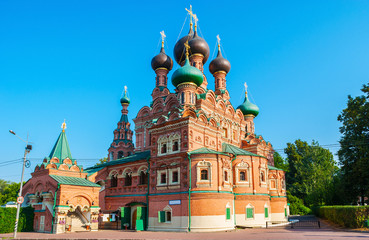 The medieval church of Life-giving Trinity in Ostankino with complex decorations of exterior and the scenic onion domes, Ostankinskaya street, Moscow, Russia.