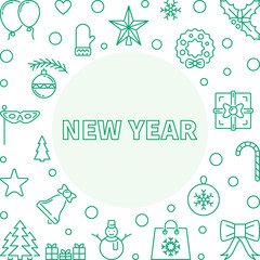 Vector New Year square frame or background in outline style