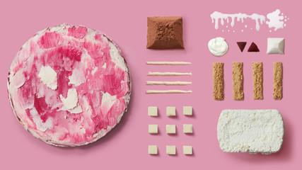 handmade cake, baking ingredients on pink background
