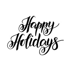 Happy Holidays hand drawn lettering typography