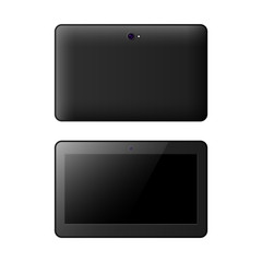 Realistic tablet front and back side vector illustration.