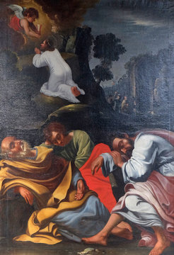 Agony in the Garden, Jesus in the Garden of Gethsemane, the Apostles sleep, painting in the Neumunster Collegiate Church in Wurzburg, Germany