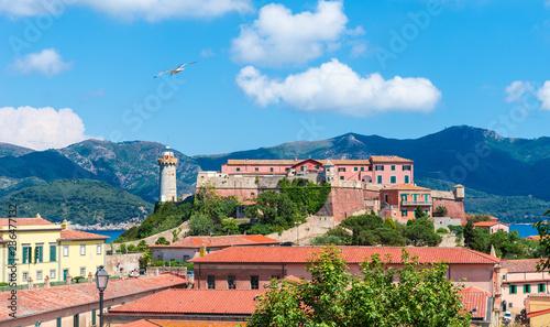 Wall mural Stella fortress on Portoferraio town of Elba island, Tuscany region, Italy