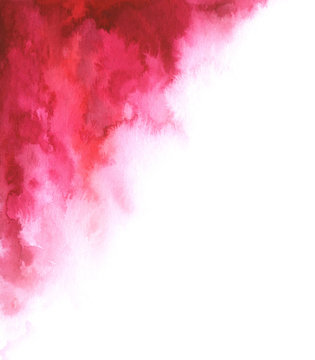 Hand painted watercolor abstract red and white gradient background for your design