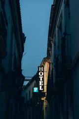 Hotel sign at night