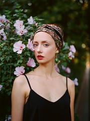 Portrait of a woman wearing  turban