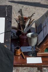 Scribe pens at a medieval fair