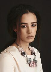 Portrait of mixed race model in studio