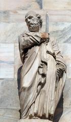 Saint Bartholomew the Apostle, statue on the Milan Cathedral, Duomo di Santa Maria Nascente, Milan, Lombardy, Italy
