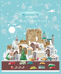 Christmas wishes from Scotland. Modern vector greeting card in flat style with snowflakes, winter city, decorations, cars and happy people.