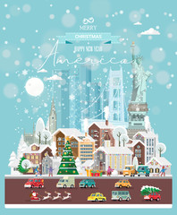 Christmas wishes from America. Modern vector greeting card in flat style with snowflakes, winter city, decorations, cars and happy people.