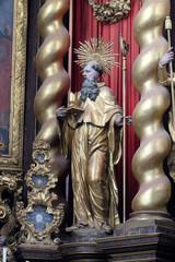 Saint Benedict statue on the main altar in Cistercian Abbey of Bronbach in Reicholzheim near Wertheim, Germany