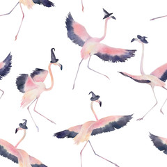 Watercolor seamless pattern. Dancing flamingos in hat for halloween. Hand drawn illustration