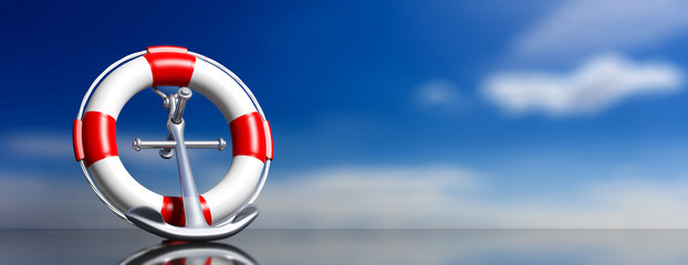 Help, safety on sea concept. Lifebuoy and navy anchor on blue sky background, banner. 3d illustration