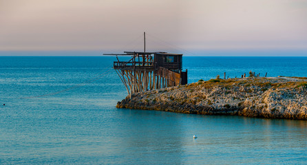 Ancient fishing machine typical of the Gargano coast, Molise and Abruzzo, protected as a monumental heritage by the national park of Gargano
