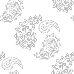 paisley seamless pattern, hand drawn indian cucumber, sketch