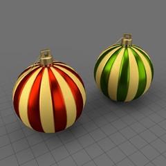 Striped Christmas ornament set