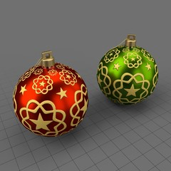 Star pattern Christmas ornament set