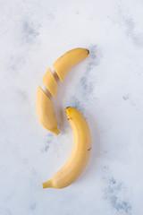 Overhead view of bananas on table