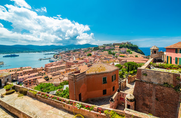Wall Mural - Old town and harbor Portoferraio, Elba island, Italy