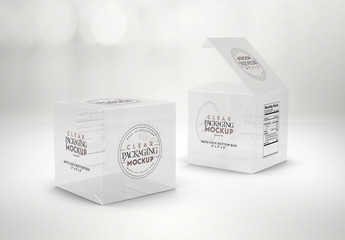 2 Clear Square Boxes Mockup