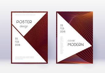 Stylish cover design template set. Orange abstract